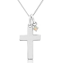 Precious Moments - Sterling silver cross pendant with created opal charm