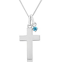 Precious Moments - Sterling silver cross pendant with blue cubic zirconia charm
