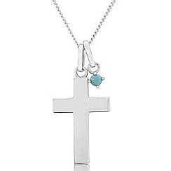 Precious Moments - Sterling silver cross pendant with created turquoise stone set charm
