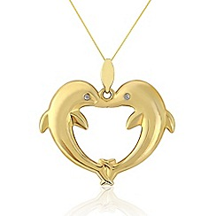 Love Story - 9ct Gold Diamond Set Dolphin Pedant
