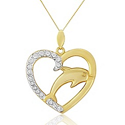Love Story - 9ct Gold Stone Set Dolphin Pendant