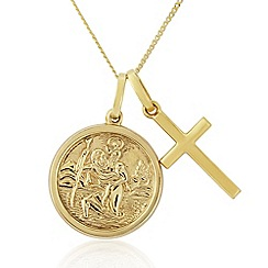 Precious Moments - 9ct Gold St Christopher And Cross Twin Pendant