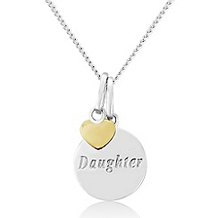 Precious Moments - Sterling Silver 9ct Gold Plated 'Daughter' Pendant