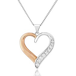 Love Story - Sterling Silver And Rose Gold Plated Heart Pendant