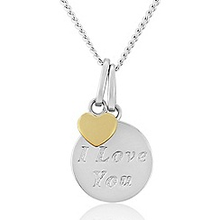 Precious Moments - Sterling Silver And 9ct Gold Plated 'I Love You' Pendant