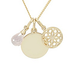 Precious Moments - 9ct Gold Plated on Silver Rose Quartz with Charm Disc Pendant