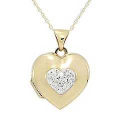 Precious Moments - 9ct Gold Crystal Heart Locket