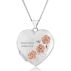 Precious Moments - Sterling silver ladies heart locket with 'together forever'