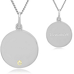 Precious Moments - Sterling silver and 9ct gold gents 'soulmate' stone set pendant