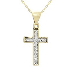 Precious Moments - 9ct Gold Diamond set Cross Pendant