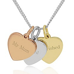 Precious Moments - Sterling silver, my mum, loved, cherished trio heart pendant