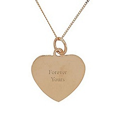 Precious Moments - 9ct rose gold heart ' forever yours' ladies pendant