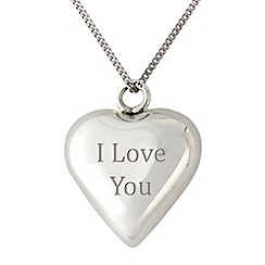 Precious Moments - Sterling silver 22mm heart chime 'I Love You' pendant