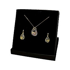 Love Story - 9ct Gold Diamond set Ladies Earrings and Pendant Set