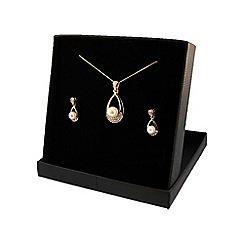 Love Story - 9ct Gold Pearl & Diamond Ladies Earrings and Pendant Set