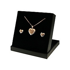 Love Story - Rose Rhodium Heart Glass Crystal Earring and Pendant Set
