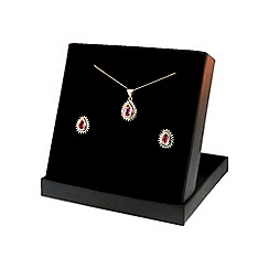 Love Story - 9ct Created Pink Sapphire and Diamonds Earring and Pendant Set
