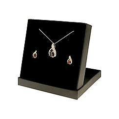 Love Story - 9ct Yellow Gold Garnet and Diamond Earrings and Pendant Set