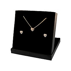 Love Story - Sterling Silver 9ct Gold Plated Diamond Earrings and Pendant Set