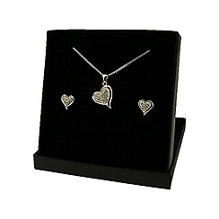 Love Story - 9ct Rose Gold Plated Diamond Earrings and Pendant Set