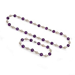 Love Story - Freshwater pearl and amethyst set silver clasp