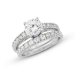 Love Story - Platinum plated on sterling silver cz ring