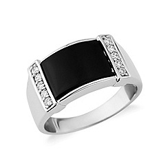 Love Story - Sterling silver, onyx and cz gents ring