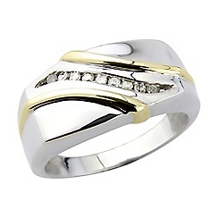 Precious Moments - Sterling silver and gold plate ring with diamonds