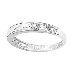 Love Story - 9ct white gold ladies diamond set message ring
