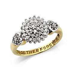 Love Story - 9ct gold diamond cluster ring