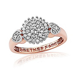 Precious Moments - 9ct Rose Gold Plated On Silver Diamond Message Ring
