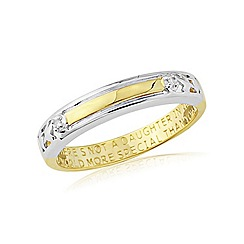Precious Moments - Silver, 9ct gold plate diamond set daughter ring