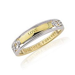 Precious Moments - Sterling silver & 9ct gold plated 'Love' ring