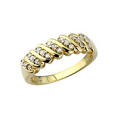 Love Story - Sterling silver & yellow gold overlay diamond ring