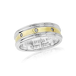 Love Story - Sterling silver & yellow rhodium diamond set gents message ring. 'watch over us when we are apart'