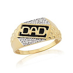 Precious Moments - Silver gold plated onyx diamond dad ring