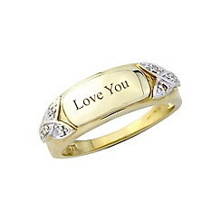 Precious Moments - 9ct gold plated silver ladies diamond set 'Love you' ring