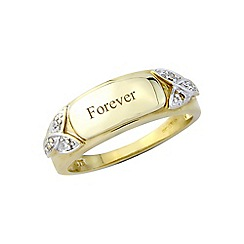 Precious Moments - 9ct gold plated silver ladies diamond set 'Forever' ring