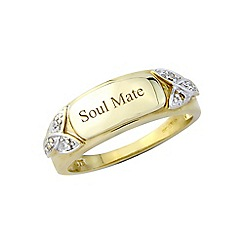 Precious Moments - 9ct gold plated silver ladies diamond set 'Soulmate'ring
