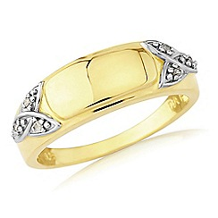 Love Story - Silver and 9ct gold plated gents diamond ring