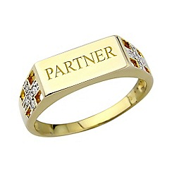 Precious Moments - 9ct gold plated on silver diamond 'Partner' ring