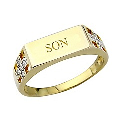 Precious Moments - 9ct gold plated on silver diamond 'Son' ring