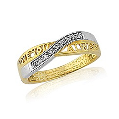 Love Story - Gold plated stone set message ring