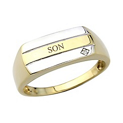 Precious Moments - Gents 9ct gold plated on silver diamond set 'Son' ring