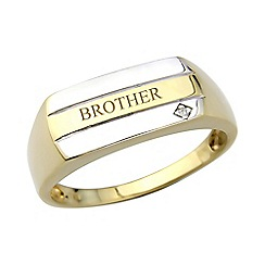 Precious Moments - Gents 9ct gold plated on silver diamond set 'Brother' ring