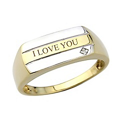 Precious Moments - Gents 9ct gold plated on silver diamond set 'I love you' ring