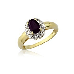 Love Story - 9ct gold amethyst and diamond ring