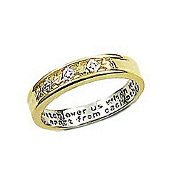 Precious Moments - 9ct gold plated on sterling silver diamond set ladies message ring