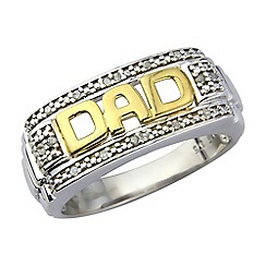 Precious Moments - Sterling silver & 9ct gold plated 'Dad' diamond set dress  ring