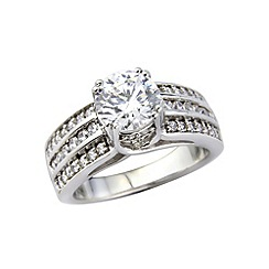 Love Story - Silver, platinum plated stone set dress ring